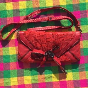 Red Vegan Leather Zippered Lace Clutch Purse